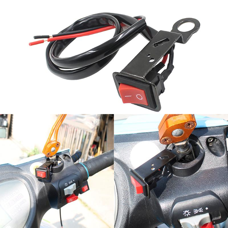 Universal Motorcycle <font><b>Switches</b></font> Motorcycle <font><b>Handlebar</b></font> Flameout <font><b>Switch</b></font> ON OFF Button for Moto Motor ATV <font><b>Bike</b></font> DC12V/10A Black image