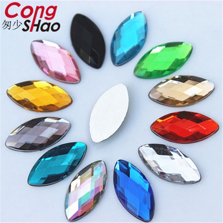 Cong Shao 100PCS 9*18mm Colorful Flatback Horse Eye Acrylic Rhinestone Trim Crystals And Stones DIY Wedding Dress Strass 8Y770
