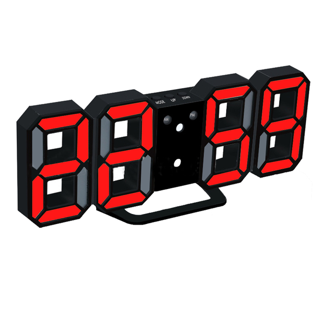 Modern Home Wall Clock Timer 3D LED Digital Wall Clock Black and
