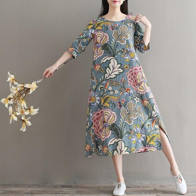 2018 для женщин длинное платье печати Свободные Хлопок и лен/литературный халаты платья для красные цветы Broccoli 8239