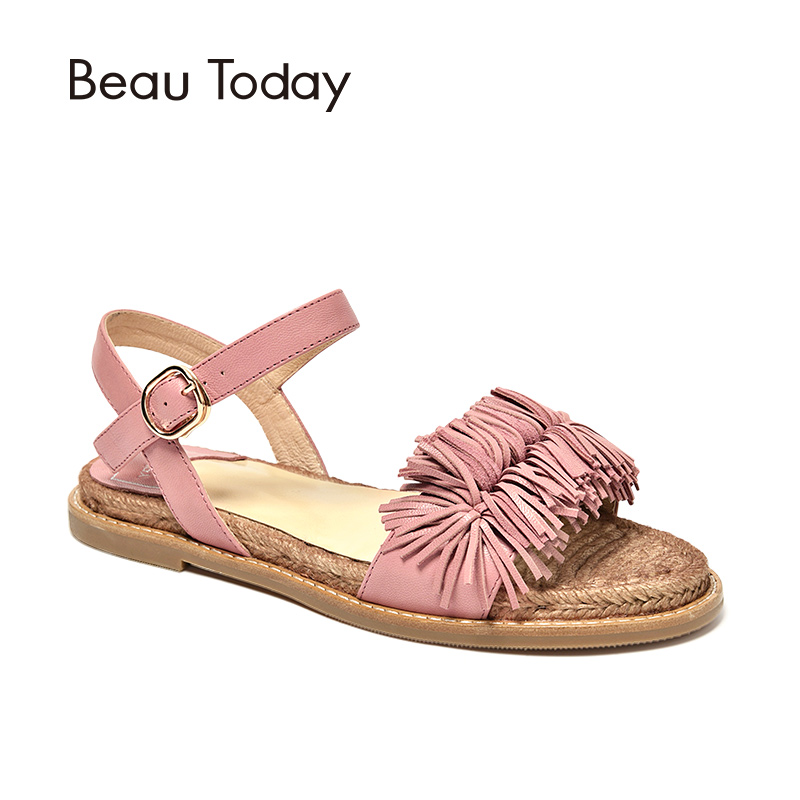 BeauToday Summer Sandals Genuine Leather Sheepskin Flat Heel Top Brand Fringe Style Women Shoes Handmade 32049 fringe sleeve top
