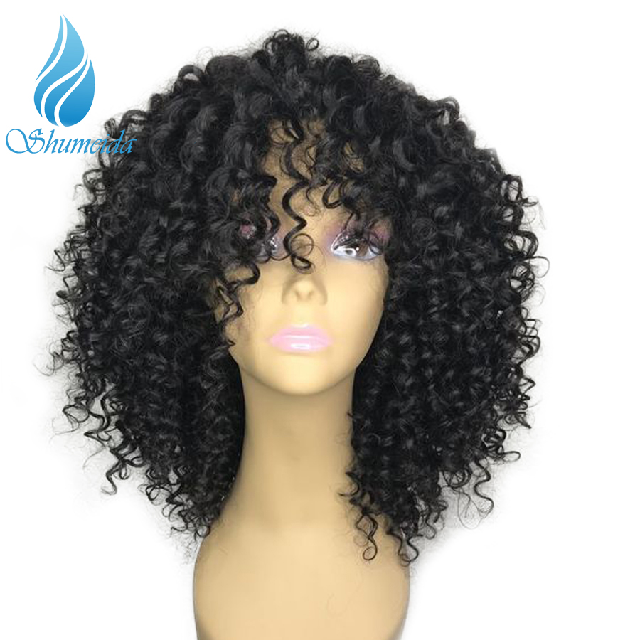 SHD13 3 Lace Front Kinky Curly Human Hair Wigs With Bangs 180 Density Human Lace Front