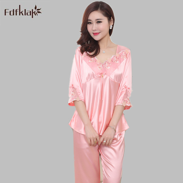 Sexy Pijama Women Summer   Pajamas   Satin Nightwear Sleepwear Faux Silk   Pajama     Sets   Women Pyjamas V-Neck Plus Size XL XXL E1091