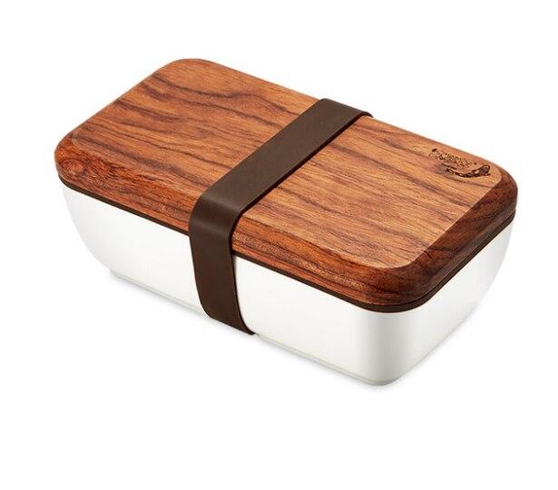 Boîte à Lunch japonaise avec couvercle en bois pour enfants école bureau étanche Bento boîte micro-ondes vaisselle récipient de stockage des aliments LF313