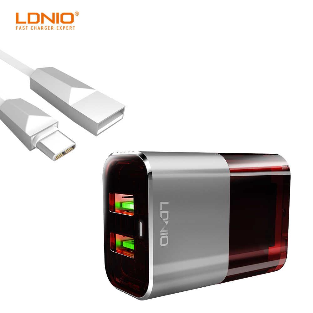 LDNIO السيارات معرف ثنائي USB ميناء الولايات المتحدة التوصيل شاحن السفر اللون الرمادي والأحمر مع منع وظيفة حرق للأجهزة الذكية