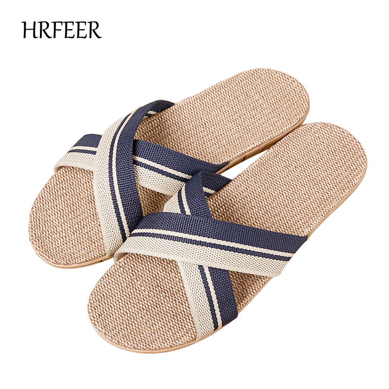 HRFEER 2018 New Summer Men Flax Flip Flop Canvas Linen Non-Slip Designer Women Flat Sandals Home Slippers Fashion Casual Slides coolsa ho t summer woman beach sandals linen slippers flax plaid fabric flat non slip indoor flip flop women casual straw shoes