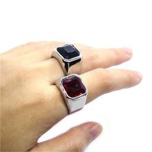 Размер 7-14 новейшая поддержка Прямая поставка стразы кольцо 316L Нержавеющая Сталь Ювелирные изделия унисекс красный черный камень кольцо