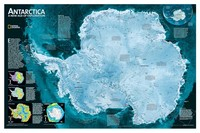 National Geographic Antarctica Map Canvas Oil Prints Painting Print Wall Pictures Living Room Home Decoration Poster