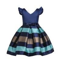 Niña princesa vestido niños raya mosca manga Vestidos para niño niños americanos europeos moda ropa vestidos
