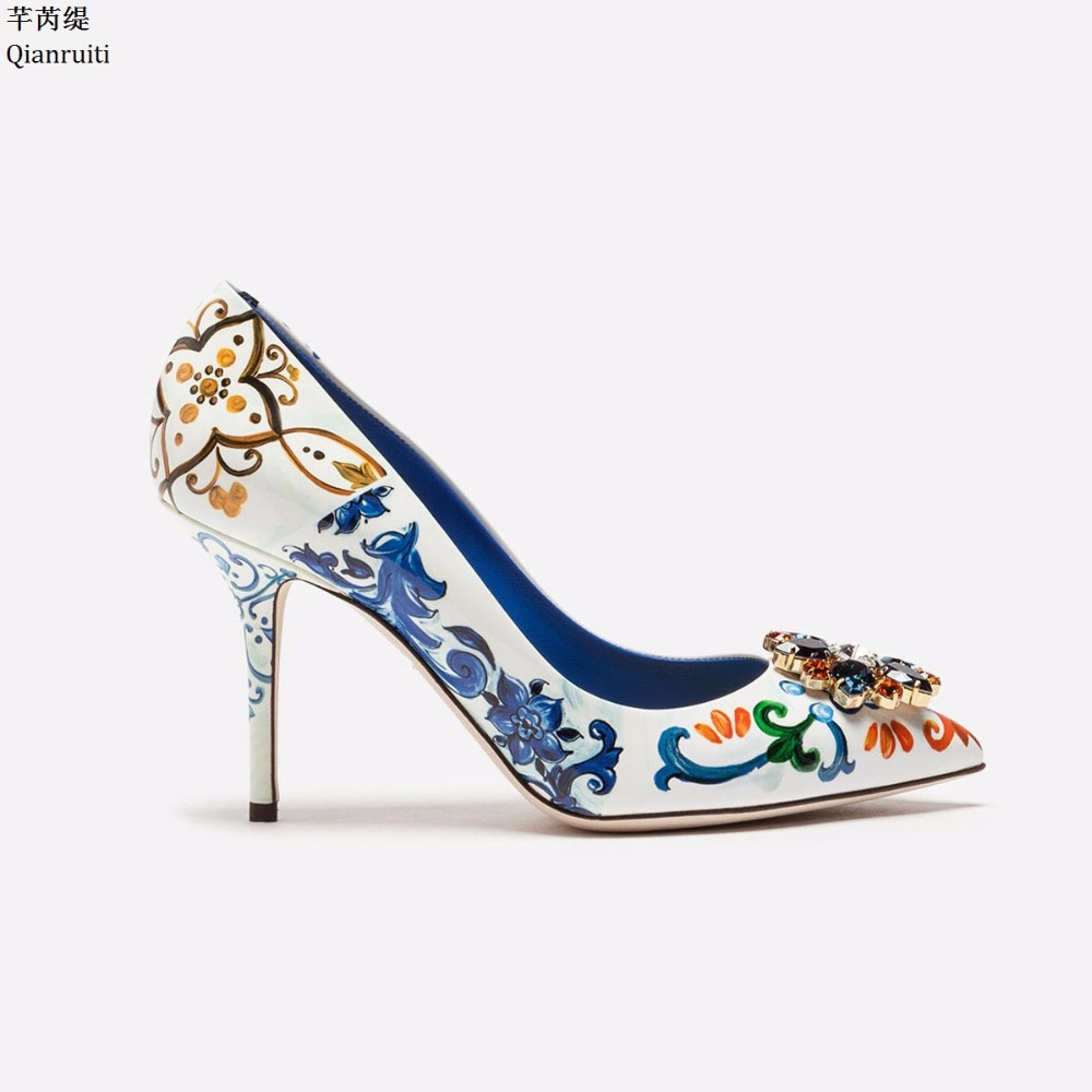 Qianruiti Pointed Toe Slip-On Women Pumps Printing Leather High Heels  Wedding Shoes Studded Crystal Stiletto Heels Women Shoes 7c8246b5f040