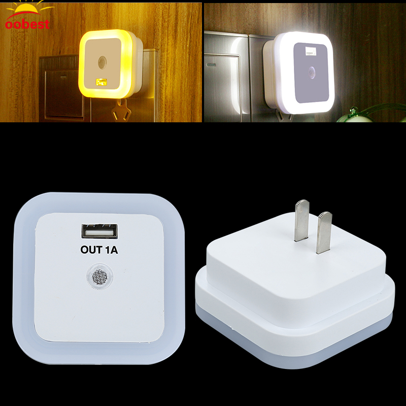 OOBEST LED Night Light with Light Sensor and Dual USB Wall Plate Charger Perfect for Bathrooms Bedrooms US Plug brelong creative light switch sensor led night light with dual usb 5v wall board charger mobile phone night light eu us 110 240v