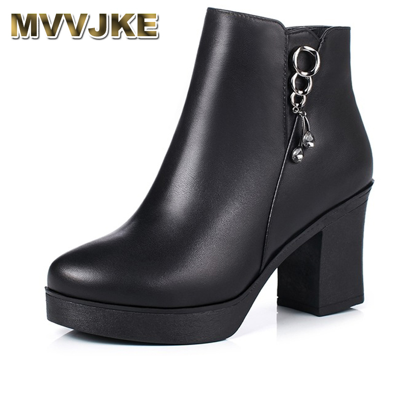 MVVJKE Autumn Winter High Heels Shoes Woman Female Round Toe Martin Boots Thick Heel Platform Women Shoes Genuine Leather Ankle brand winter boots women shoes high heels soft ankle boots female leather shoes woman new round toe platform shoes thick heel de