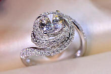Size 5 10 Top Selling Luxury Jewelry 925 Sterling Silver Round Cut White 5A CZ Zirconia