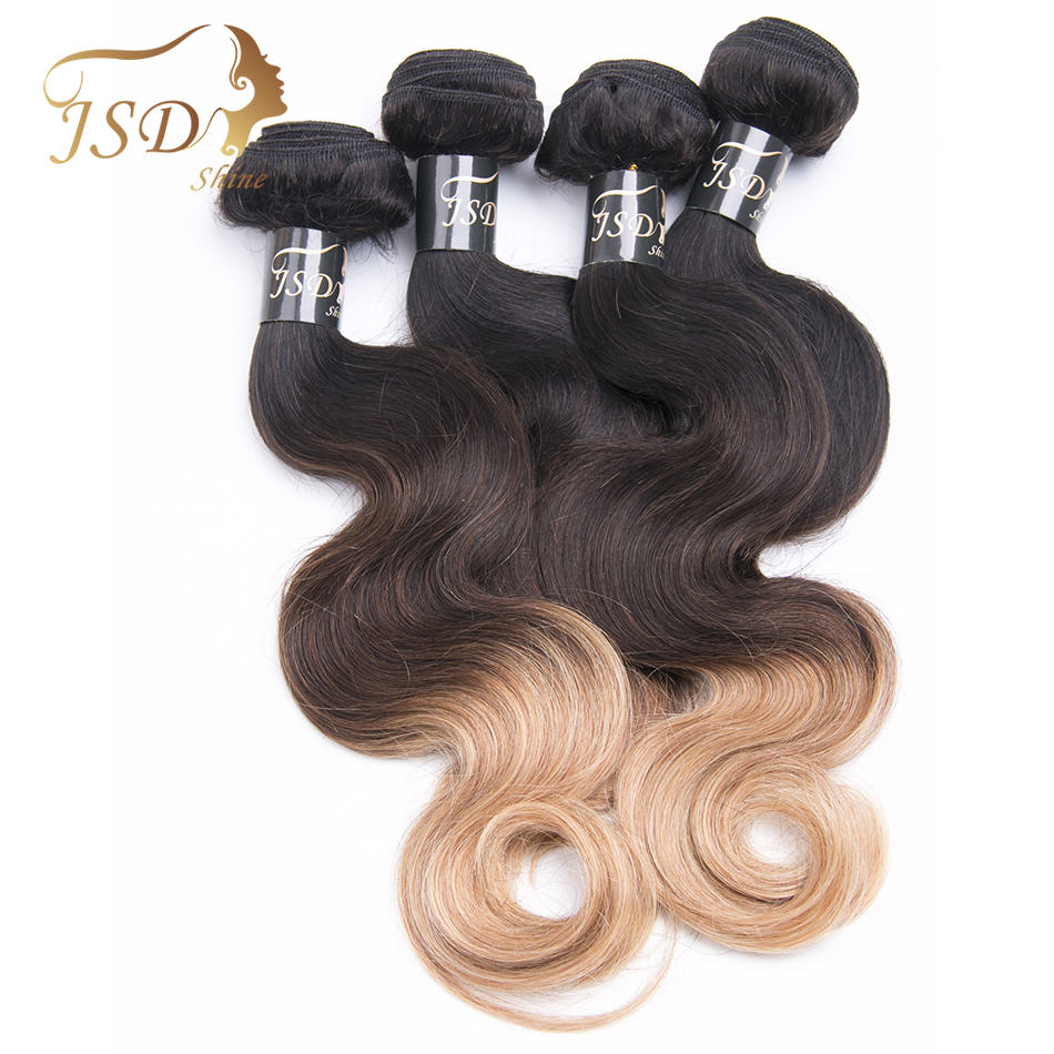 Indian Hair Pre-Colored Body Wave Hair Color T1B/4/27 Ombre Human Hair Bundles 4PC Non Remy Hair Extension Free Shipping