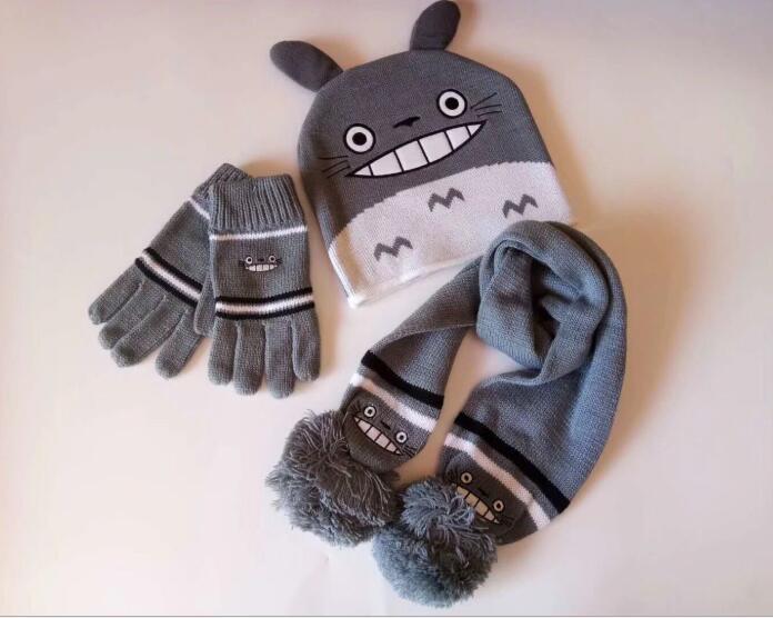 1 Satz Anime Mein Nachbar Totoro Stricken Beanie Hut Kinder Weihnachten Winter Gestrickte Schal Handschuhe Hut Set Party Kinder Geschenke 2-8y Hohe Sicherheit