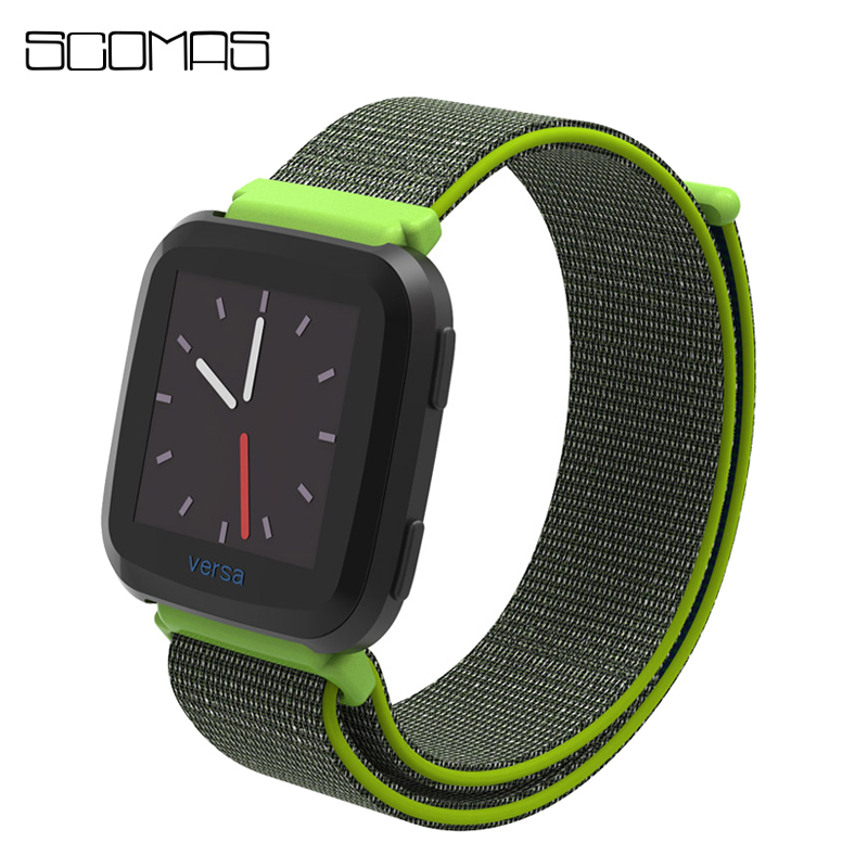 SCOMAS Replacement Woven Nylon Strap for Fitbit Versa Breathable Adjustable Closure Loop Watch Band for Fitbit Versa Smart Watch smart watch usb charging box cable for fitbit versa
