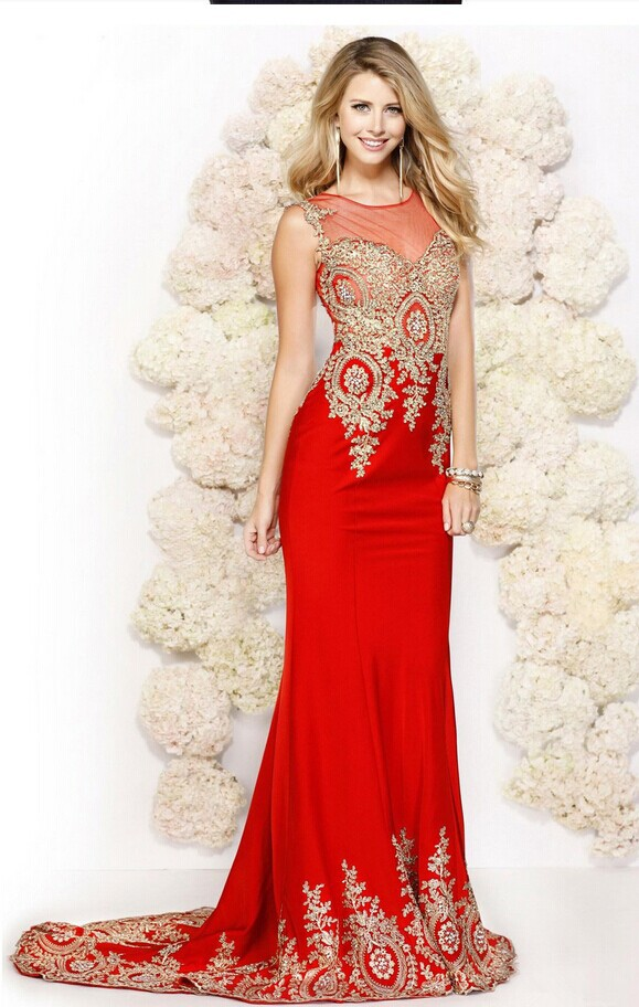 Floor Length See Through Party Robe De Soiree Formal Red