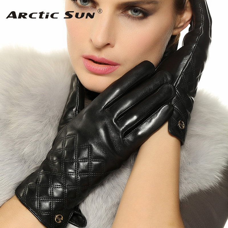Top Fashion Genuine Leather Gloves For Women Winter Thermal Wrist Sheepskin Glove Female 2019 New Solid Adult Driving EL026NQF