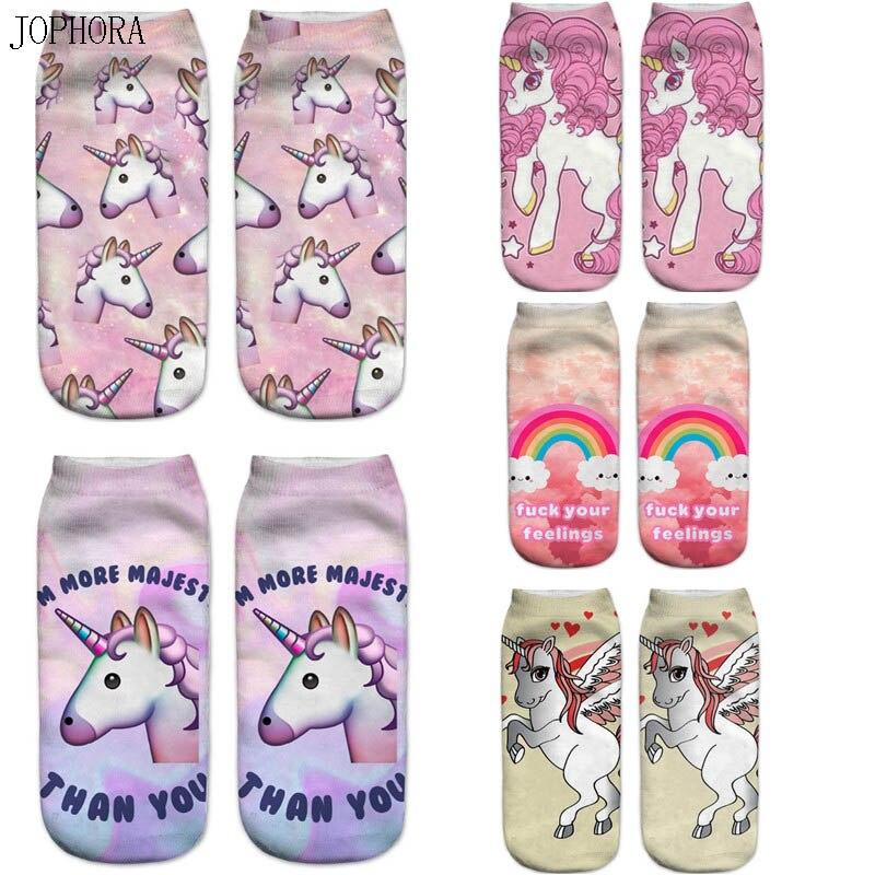 Hot New pony unicorn unicorn Harajuku animal expression emoji3D digital printing   socks
