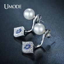 UMODE Simulated Pearl Earrings Tiny AAA+ CZ  Hamsa Evil Eye Piercing Stud Earrings For Women Jewelry Fashion Hot Gift AUE0157