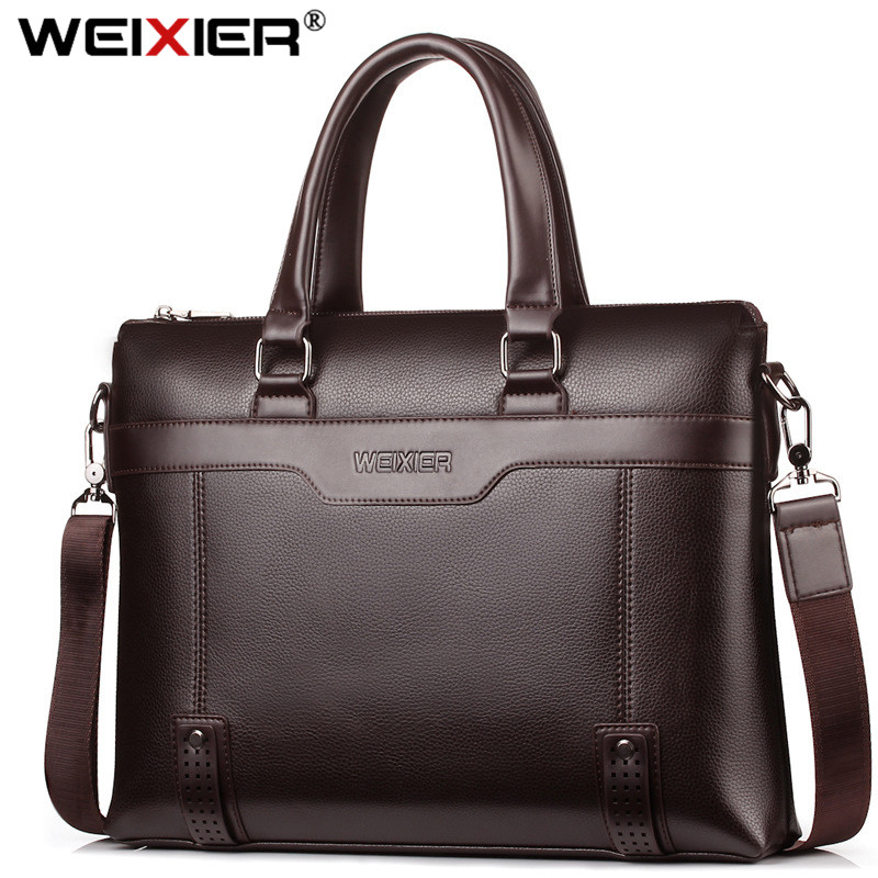 WEIXIER Larger Capacity Shoulder Bag Men Zipper Business Handbag High Quality Leather 15''Laptop Briefcases  Messenger Bags Tote