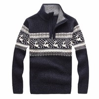 New 2018 Cheshanf Mens Christmas Deer Sweaters Wool Turtleneck Sweater Men Pullover Thick Knitted Christmas Sweater