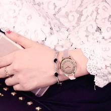 Прекрасный Подарок Женщины Элегантные Ретро Алмаз Сияние Дизайн Кожаный Ремешок Аналоговый Сплава Кварцевые Наручные Часы Розовый Леверт Челнока Dec1