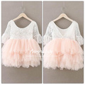 2016 Toddler Baby Girls Kids Tutu Crochet Lace Dress Princess Dress Girls Clothes Children wholesale children clothing 5pcs lots