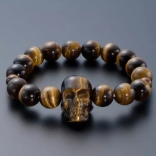 Handmade natural quartz crystal tiger eye stone skull healing bracelet family decorative crafts free shipping цена