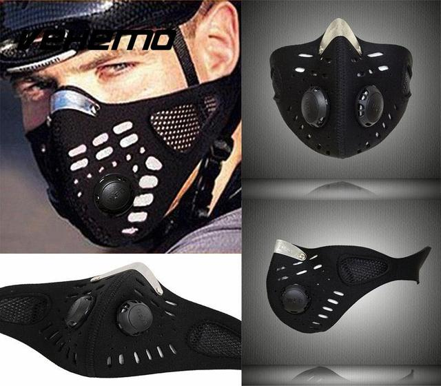 Vehemo Cool Anti Dust Motorcycle Bicycle Cycling Bike Ski Atv Half Face Mask Filter Black Durable Neoprene High quality 2