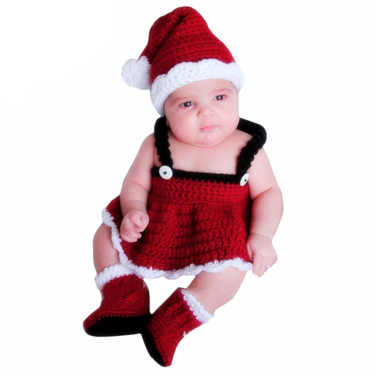 Androktones Winter Christmas Newborn Baby Girl Boy Clothes New Born Cute Body photography Jumpsuit Baby Costume Hat Headband Set