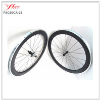 China 700C carbon & alloy clincher wheels with FSE 280s hubs, FSC60CA 23 road bicycle wheels with Aluminum braking surface