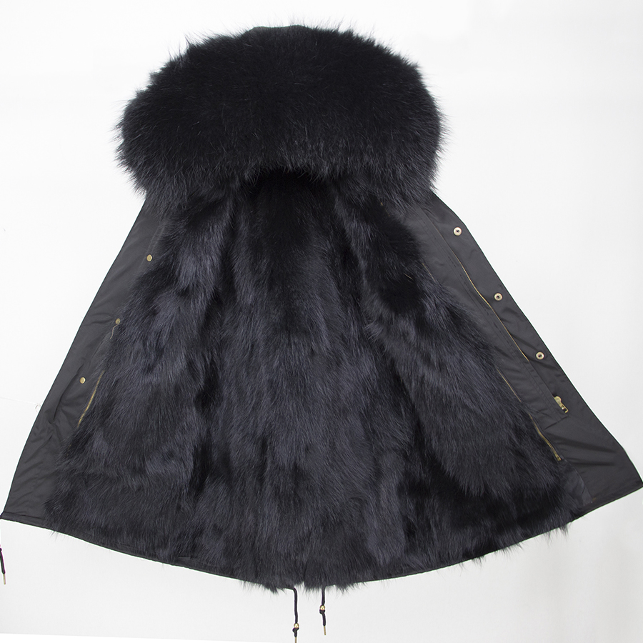 2019 Real Fur Coat Winter Jacket Women Long Parka Waterproof Big Natural Raccoon Fur Collar Hood Thick Warm Real Fox Fur Liner 105
