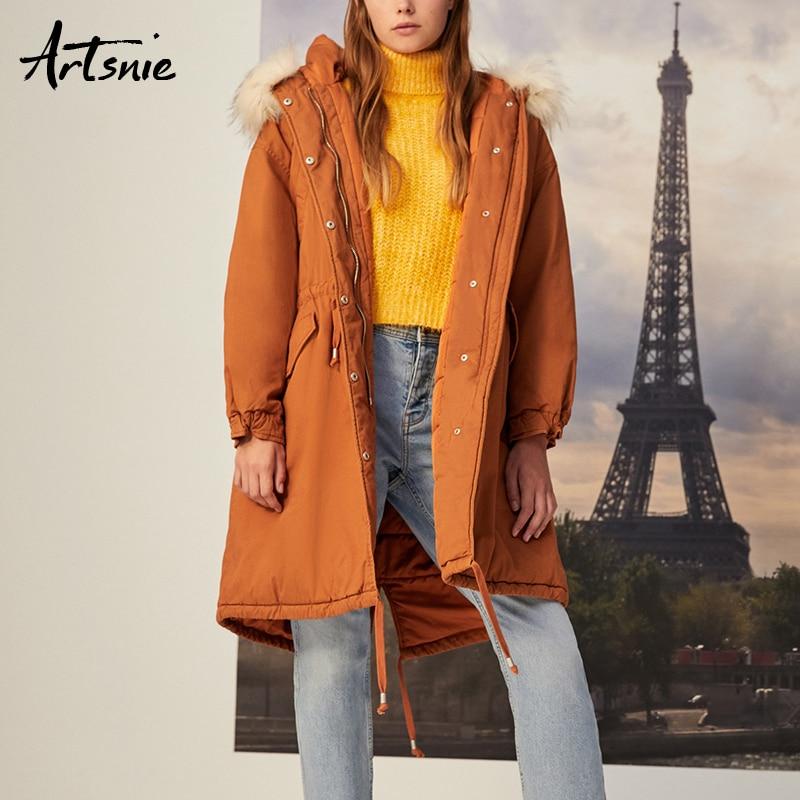 Artsnie Streetwear Autumn 2018 Long Thick Warm   Parkas   Women Double Pockets Camel Winter Girls Faux Fur Hooded Coats Chaqueta