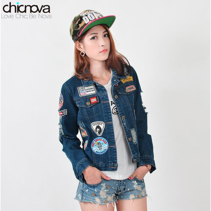 Oversized Denim Jacket Women Ripped Patches Badge Ripped Souvenir