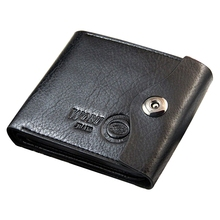 WOBU High Quality Mens Leather Wallet with Credit Card Holder,Purse (Black)
