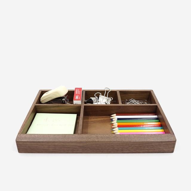 Black Walnut Wood Office Storage Box