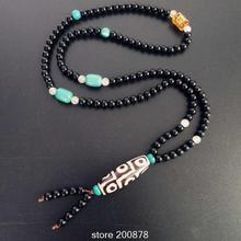 BRO831 тибетская дзи Цепочки и ожерелья 6 мм 108 черный сердолик Медитация Мала Цепочки и ожерелья для человека мантры амулет дзи