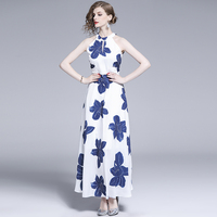 New Fashion Women dress Print High Waist Slim Dresses Picture Color A036