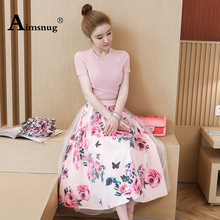 Women Two Piece Sets Outfits Short Sleeve Crop Top and  T Shirt+Mesh Skirts Suit  Vintage Floral Skirt Sets for Elegant Woman stylish short sleeve pink knitwear and floral skirt women s suit