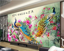 beibehang Senior Decorative Paintings Atmospheric Wallpaper Peacock Auspicious Birds Home TV Background Walls papel de parede