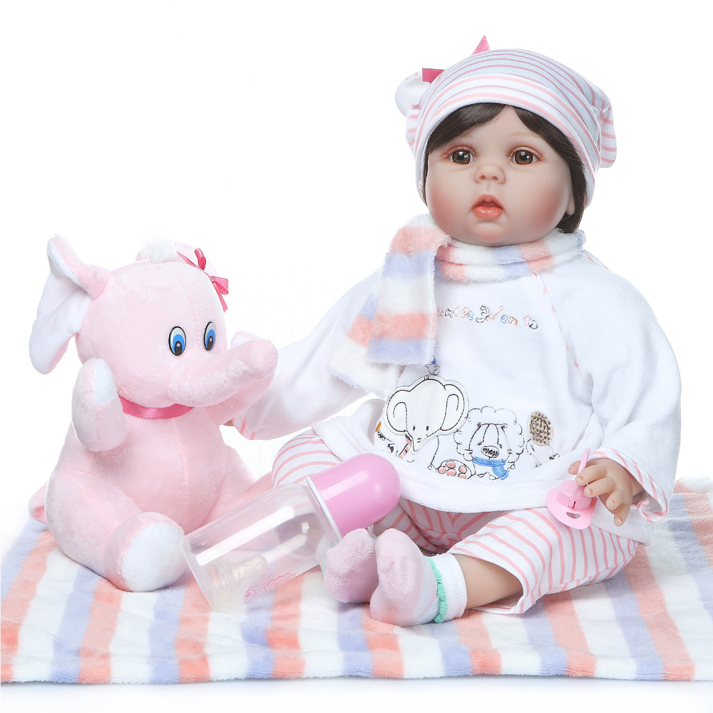 Nicery 20-22inch 50-55cm Bebe Reborn Doll Soft Silicone Boy Girl Toy Reborn Baby Doll Gift for Child Pink Elephant Striped Hat Nicery 20-22inch 50-55cm Bebe Reborn Doll Soft Silicone Boy Girl Toy Reborn Baby Doll Gift for Child Pink Elephant Striped Hat