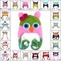 19 cores brilhantes baby girl boy crianças lindo cashmere lã de crochê bebe chapéu coruja macaco boca cap mão chapéu feito malha gorros headwear