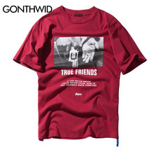 GONTHWID True Friends Hands Printed Short Sleeve T Shirts