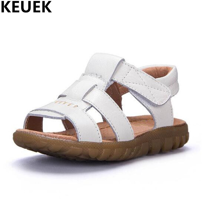 New Summer Children Sandals Genuine Leather Kids Shoes Boys Sandals Girls Baby Beach shoes Toddler Student Flat Sandals 019