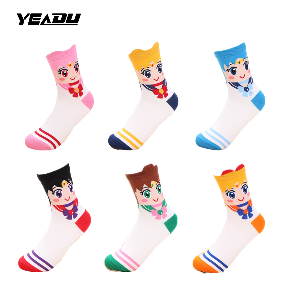 New Cartoon Sailor Moon 6 Colors Cute Funny Spring Summer Autumn Women's Socks Sweet Lovely Gift For Female