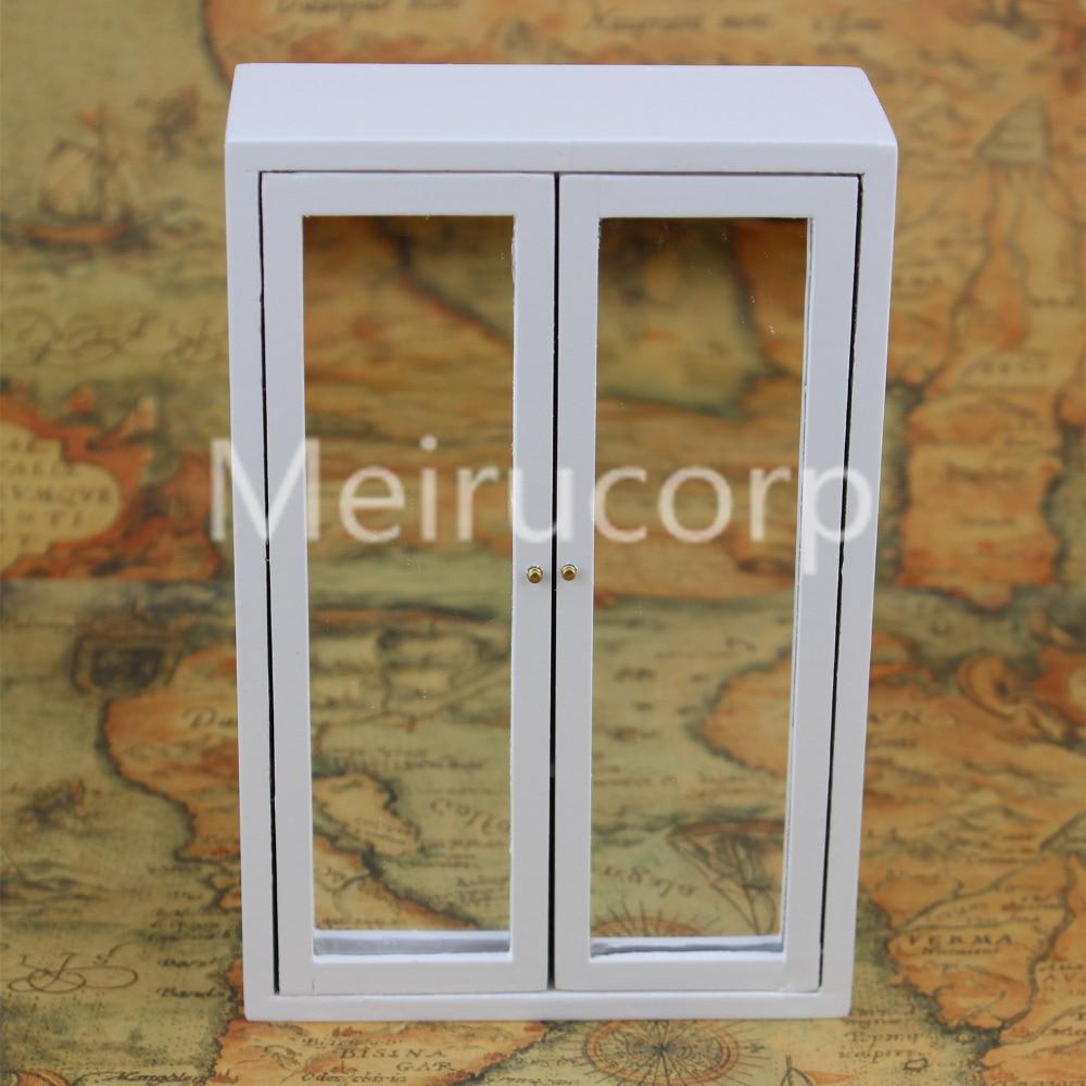 Кукольная мебель 1/12 масштаб минималистичный деревянный белый шкаф зеркало 12296 ...