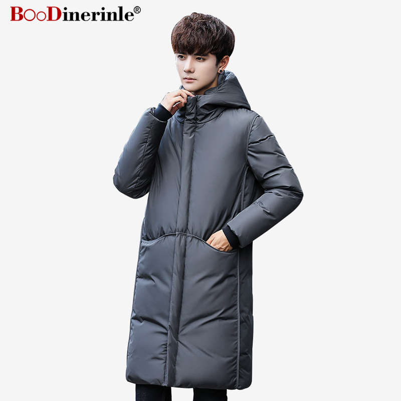 Men's Clothing Boodinerinle Mens Jacket Youth Men Warm Hooded White Duck Down Coat 2018 Winter Male Korean Style Slim Parkas Overcoat Yr144 Quality First