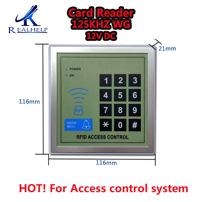 2000Users 12V DC RFID Access Control ID Card 125KHZ Wiegand Out Access Keypad And Code Access Control System Card Reader