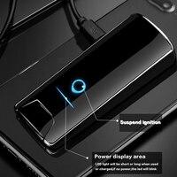 2019 Double Arc Plasma Lighter USB Pulse Windproof Metal Electronic Smart Display Power Fingerprint Lighters Gadgets For Men